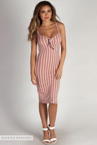 """Eye Candy"" Mauve Striped Sweetheart Midi Dress"