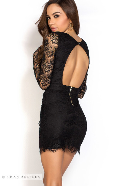 Open Back Dress with Sleeves