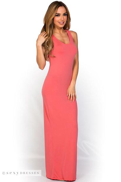 """Qadira"" Coral Casual Racerback Jersey Maxi Dress"
