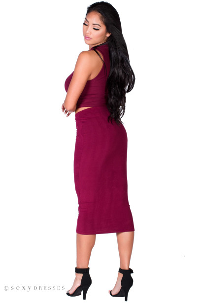"""Gwyneth"" Burgundy Jersey High Waisted Midi Pencil Skirt"