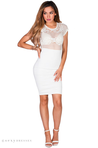 """Leigh"" White Short Sleeve Paisley Lace Sheer Top Midi Dress"