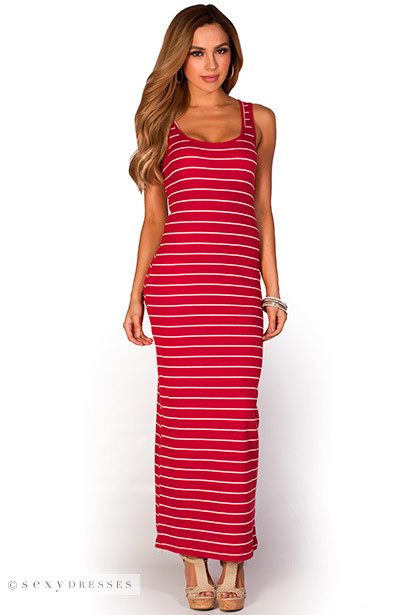 Anabelle&quot- Red and White Striped Cute Casual Sleeveless Tank Maxi Dress