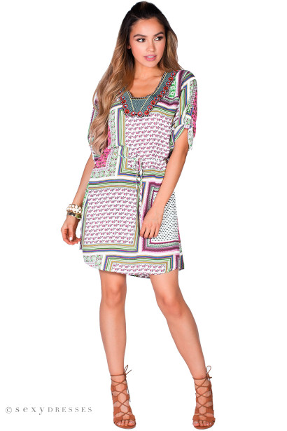 Irma&quot- Pink Patchwork Print Embellished Collar Summer Tunic Dress