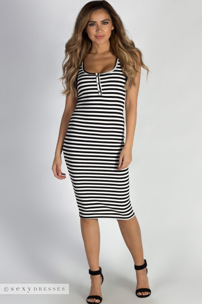 """""""Uninterrupted"""" Black And White Striped Button Up Tank Dress"""