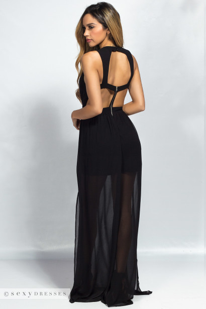 """""""Callista"""" Black Plunging Cut Out Cage Back Chiffon Maxi Gown"""