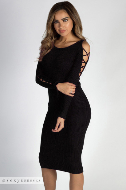 Holding On Black Lace Up Sleeve Sweater Dress