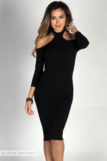 """Nadia"" Black 3/4 Sleeve Off Shoulder Bodycon Midi Choker Dress"
