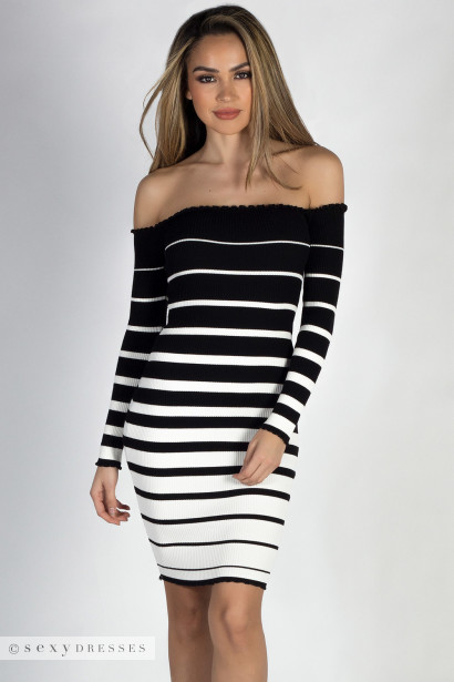 Happy Together Black White Striped Off Shoulder Sweater Dress