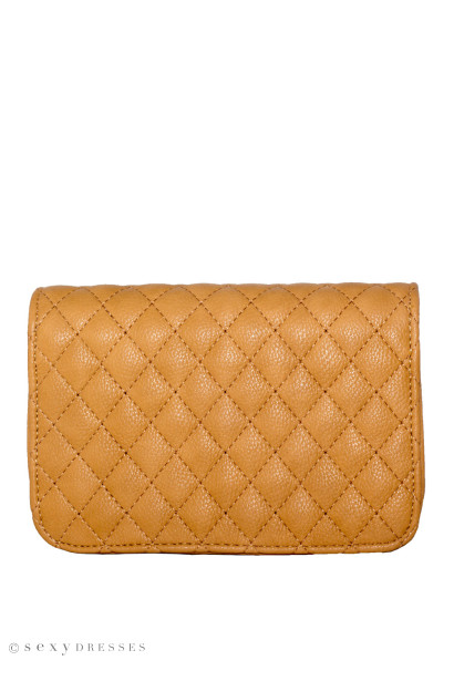 Tan Diamond Stitch Clutch W/ Detachable Shoulder Strap