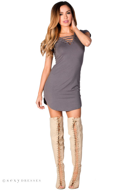 """Livia"" Gray Short Sleeve Tunic Sexy Lace Up T Shirt Dress"