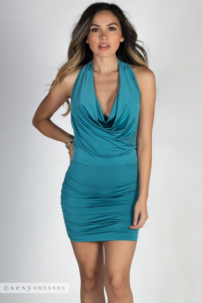 """Destiny"" Jade Chain Back Draped Halter Mini Dress"