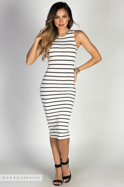 """Nautical Chic"" White & Black Striped Sleeveless Bodycon Jersey Midi Dress"