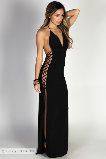 """Jazzmyn"" Black Side Lace Up Maxi Halter Dress"