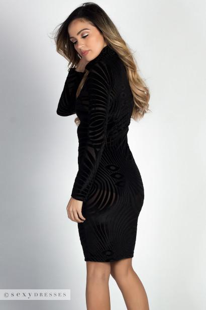 Sheer long sleeve black dress
