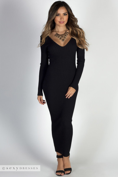 Long black sweater dress