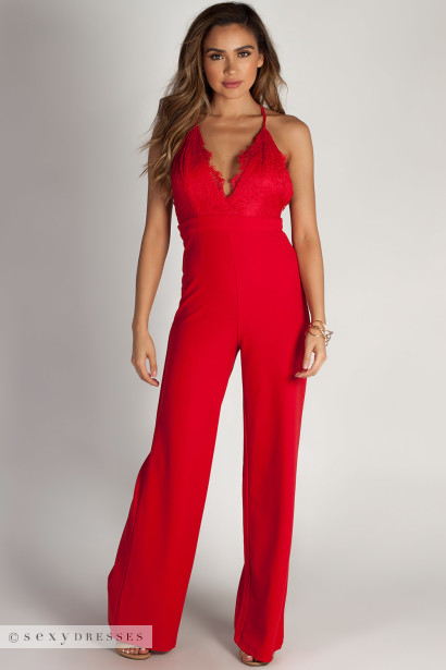 """""""Never Be Yours"""" Red Lace Top Jumpsuit"""