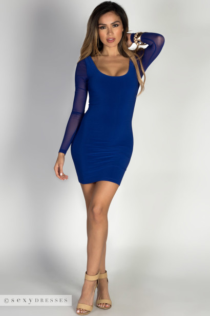 """Lexis"" Royal Mesh Long Sleeve Strappy Cut Out Cocktail Dress"