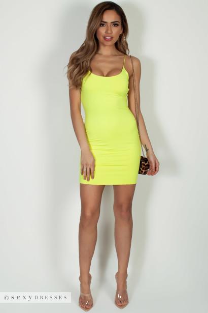"""All Or Nothing"" Neon Yellow Spaghetti Strap Mini Dress"