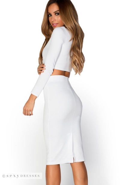 """Peyton"" Ivory White Knot-Front Long Sleeve Two Piece Dress Set"