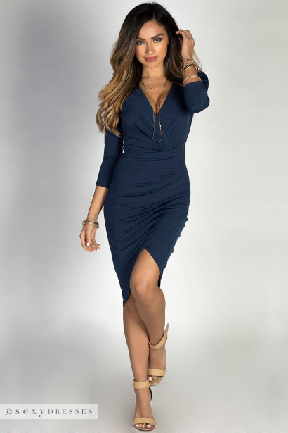 """Yasmina"" Navy Blue Long Sleeve Faux Wrap Deep V Midi Dress"