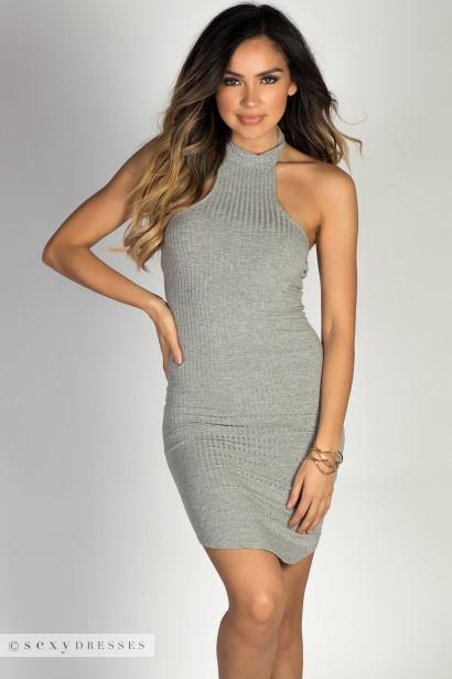 """Aim High"" Heather Gray Bodycon Ribbed Jersey High Halter Neckline Mini Dress"