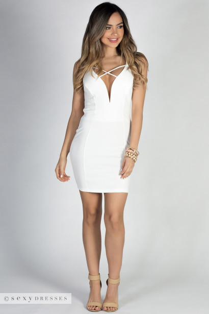 """Wild Heart"" Ivory White Plunging Deep V Strappy Backless Mini Dress"