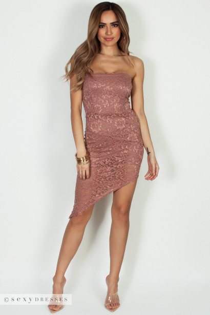 """Been The One"" Mauve Lace Asymmetrical Tube Dress"