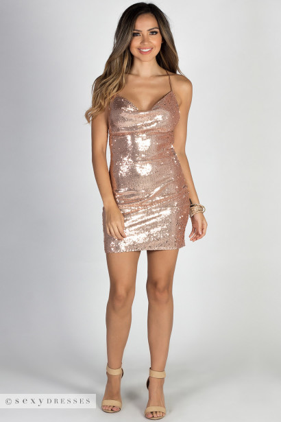 """Night Fever"" Rose Gold Strappy Backless Sequin Dress"