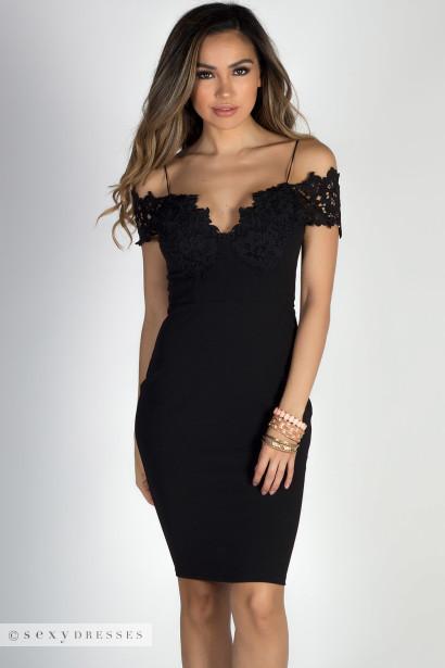 Blissful Beauty Black Floral Lace Off Shoulder Bodycon Midi Dress