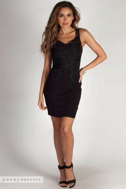 """Always Forever"" Black Baroque Lace Detailed Midi Dress"