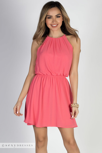 By Your Side Coral Short Chiffon Dress