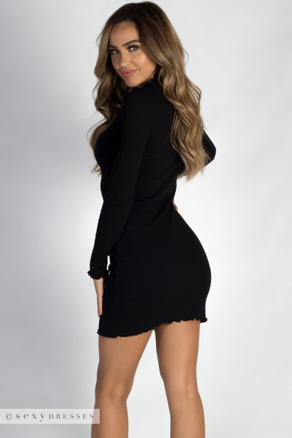 """Where Haven't We Been"" Black Ribbed Long Sleeve Merrow Hem Dress"