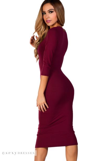 """Margo"" Burgundy Red 3/4 Sleeve Jersey Bodycon Midi Dress"
