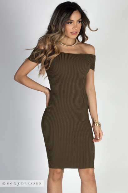 """Yes We Can"" Olive Ribbed Off Shoulder Midi Dress"
