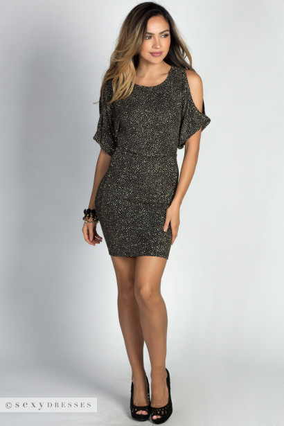 """Athena"" Sparkly Gold Cold Shoulder Batwing Sleeve Mini Dress"