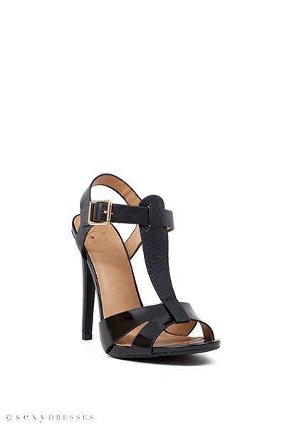 """Drive Me Crazy"" 5"" Heel black Snakeskin Womens Strappy High Heels"
