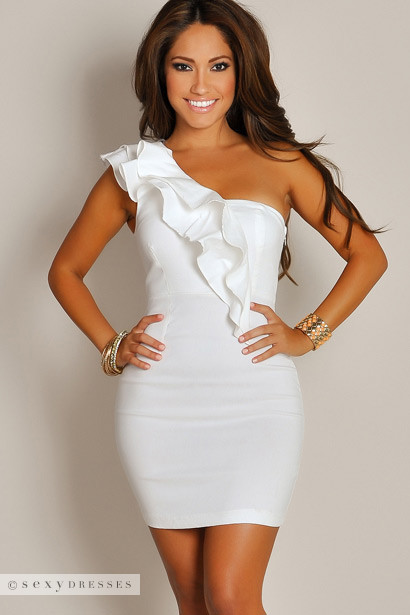 """Blanca"" Ivory White Ruffled One Shoulder Party Dress"