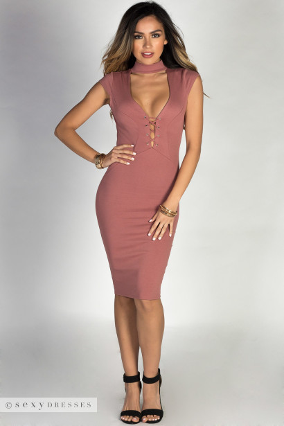 """Linda"" Mauve Cap Sleeve Plunging Lace Up Choker Dress"
