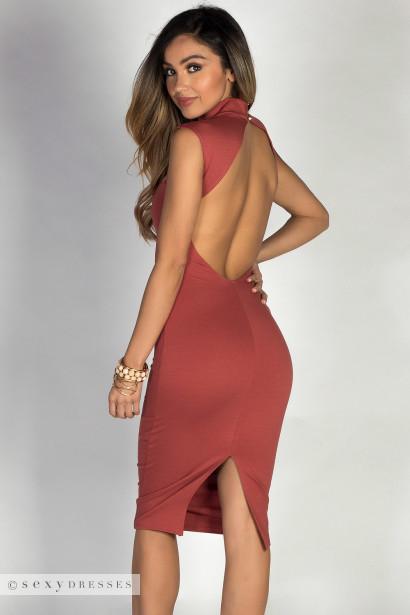 """Cosette"" Brick Red Classy Sweetheart Cut Out Choker Midi Dress"