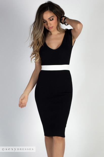 """Under the Mistletoe"" Black & White V Neck Midi Sweater Dress"