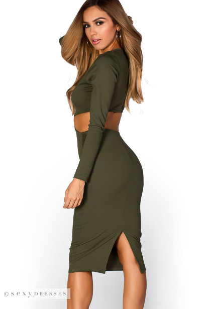 Pietra Olive Green Long Sleeve Cut Out Bodycon Midi Dress