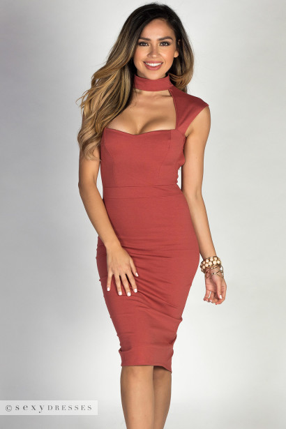 """Cosette"" Brick Red Classy Sweetheart Cut Out Choker Midi Dress"