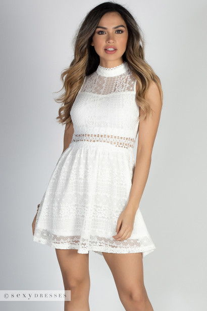 """""""Happy Everafter"""" Off White Sleeveless Mock Neck Lace Cut Out Party Dress"""