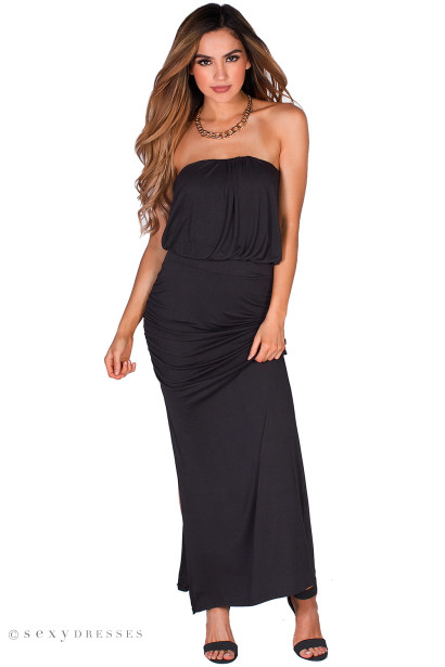 Long black tube top dress