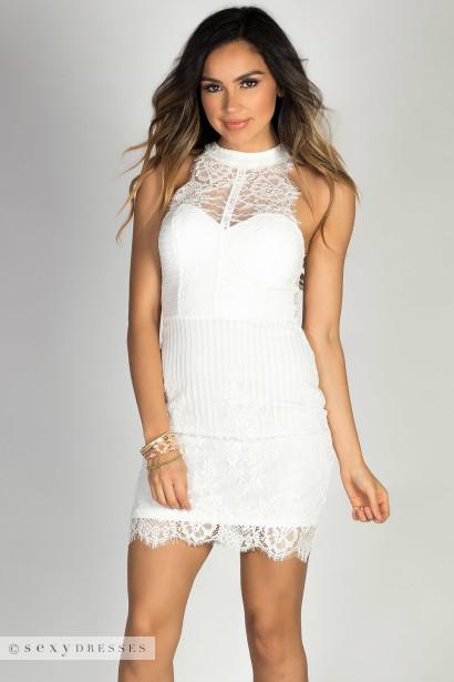 """""""Careless Whisper"""" White High Neck Halter Sleeveless Lace Cocktail Dress"""