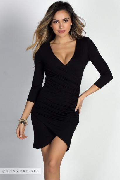 """Gemma"" Black 3/4 Sleeve Ruched Jersey Wrap Dress"