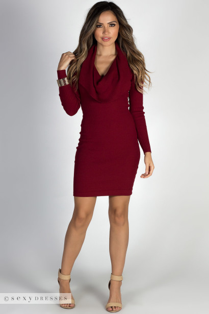 Cowl neck long sweater dress