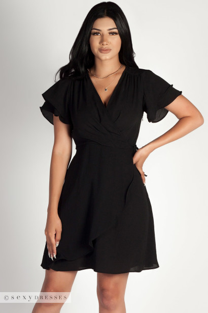 """Summer Sippin'"" Black Ruffled Shoulder Dress"