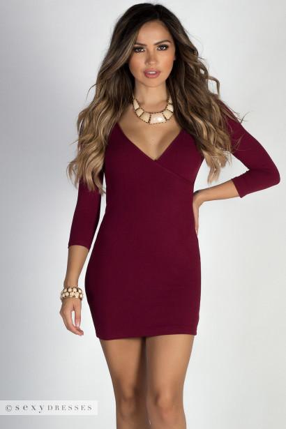 """""""Lover's Heart"""" Burgundy 3/4 Sleeve V Neck Mini Dress"""