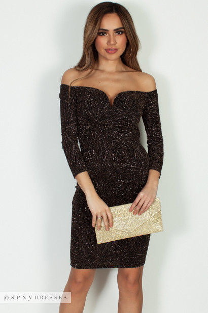 """Big Facts"" Black And Gold Glitter Off Shoulder Long Sleeve Dress"